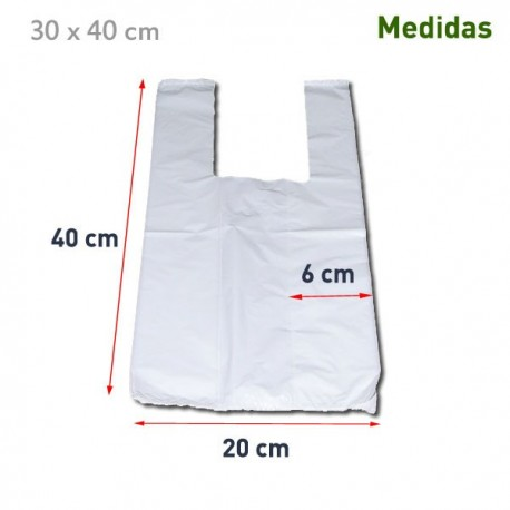 200 Bolsas de plastico asa camiseta 30x40