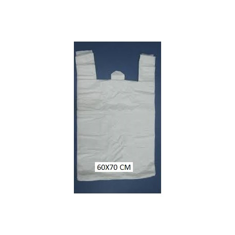 100 Bolsas de plastico asa camiseta 60X70